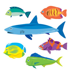 tropical fish water animal cartoon vector image