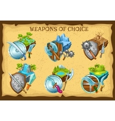 Weapon and game landscapes set vector