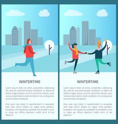 Wintertime poster woman jogging skating in park vector