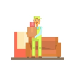 Workman holding boxes vector
