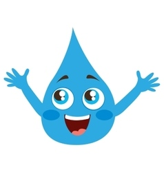 Drop water character isolated icon vector