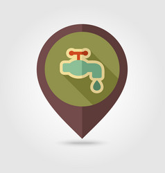 Faucet flat pin map icon vector