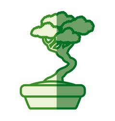Treepot plant interior decoration green silhouette vector