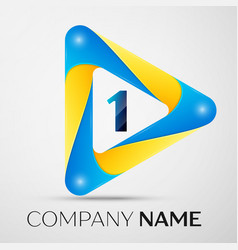 number one symbol in the colorful triangle vector image