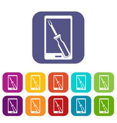 Renovation phone icons set flat vector