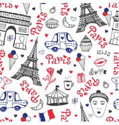 Paris seamless pattern with eiffel tower vector
