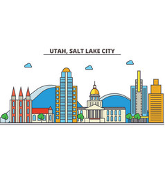 utah salt lake citycity skyline architecture vector image
