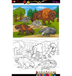 Mammals animals cartoon coloring book vector