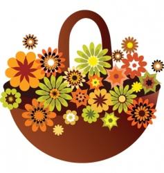 Vintage floral basket vector