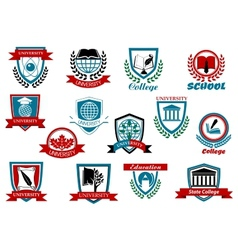 School university or college emblems and symbols vector