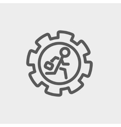 Man running inside the gear thin line icon vector