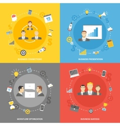 Business concept flat icons set vector