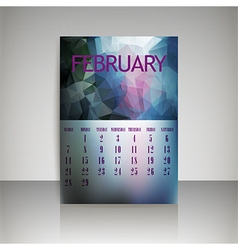 Polygonal 2016 calendar design for february vector