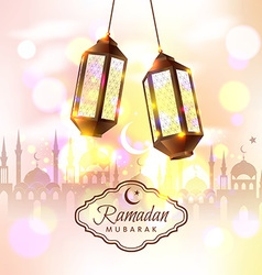 Ramadan mubarak with 3d lamps vector
