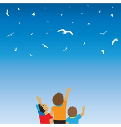 Children and birds in the sky vector
