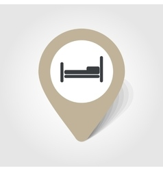Bed map pin icon vector