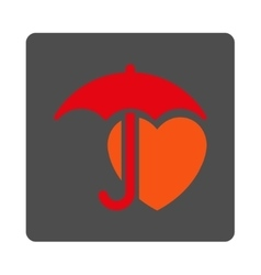 Heart protection rounded square button vector