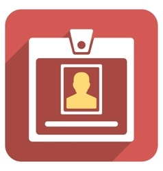 Person badge flat rounded square icon with long vector
