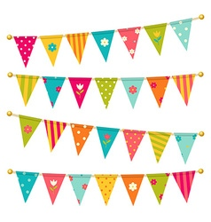 Triangle bunting flags with flowers vector