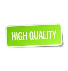 High quality green square sticker on white vector