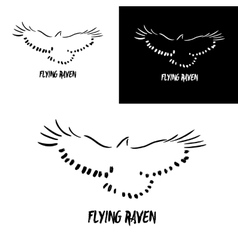 Grunge flying raven logo template vector