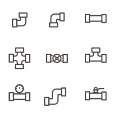 Line pipe fittings icon set vector