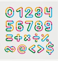 Alphabet line transparent color font style vector