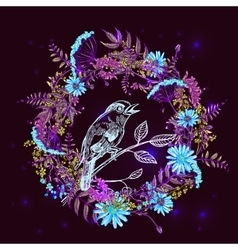 bird and flower vector image vector image