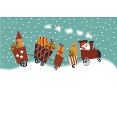 Cartoon Christmas train vector image vector image