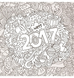 Cartoon cute doodles hand drawn new year vector