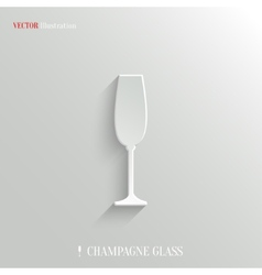Champagne glass icon - white app button vector