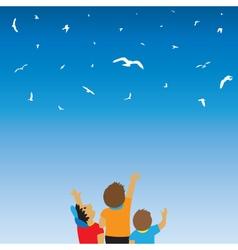 Children and birds in the sky vector image