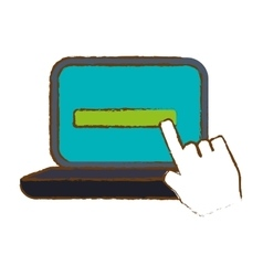Computer with hand pointer icon image vector