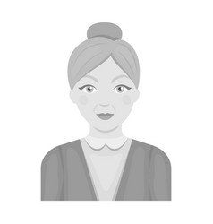 Elderly womanold age single icon in monochrome vector
