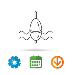 fishing float icon bobber in waves sign vector image