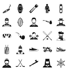 Games icons set simple style vector