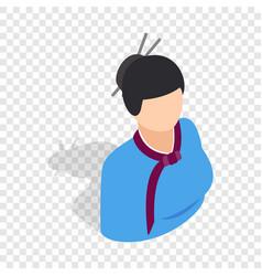 girl in korean costume isometric icon vector image vector image
