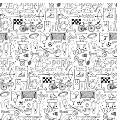 Hand drawn Sport equipment seamless pattern vector image