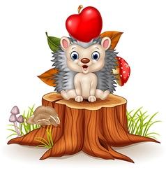 Happy little hedgehog sitiiing on tree stump vector