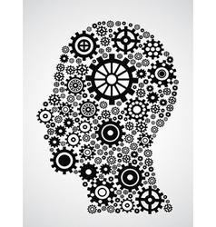 head with gears vector image vector image