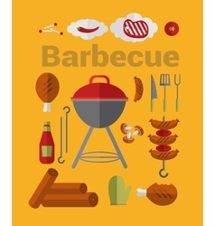 Icons barbecue grill vector