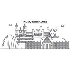 India bangalore architecture line skyline vector