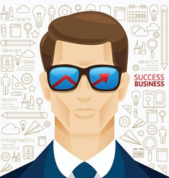 Infographic business man face arrow shape vector