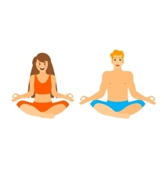 Man and woman sitting in lotus position vector image
