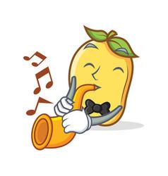 Mango character cartoon mascot with trumpet vector