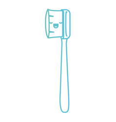 Manual toothbrush kawai in degraded green to blue vector