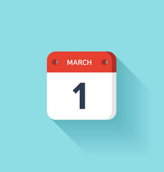 March 1 isometric calendar icon with shadow vector