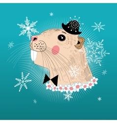 Portrait beaver hipster vector