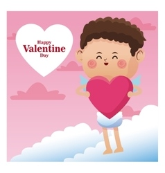 Poster romantic valentine day cupid with pink vector