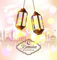 Ramadan mubarak with 3d lamps vector
